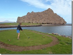 Loreto Bay Golf signature hole with Roz Markphoto