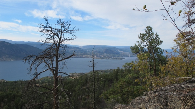 View south over Okanagan Lake toward Summerland, Naramata and Peachland as autumn arrives.