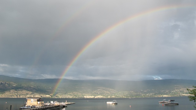 Double rainbow from Local Lounge Grille in Summerland looking toward Naramata Bench. RBuchanan photo